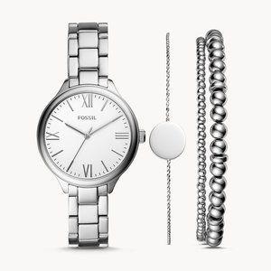 🌼 NWT Fossil silver tone watch + bracelets set